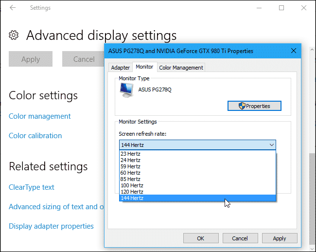 Check your monitor setting to visualize if it supports 144Hz